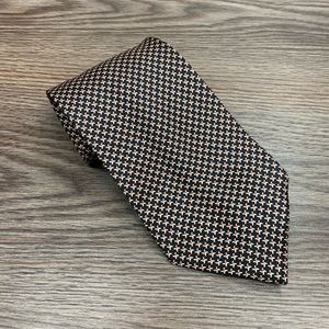 Hugo Boss Black, White & Orange Check Tie
